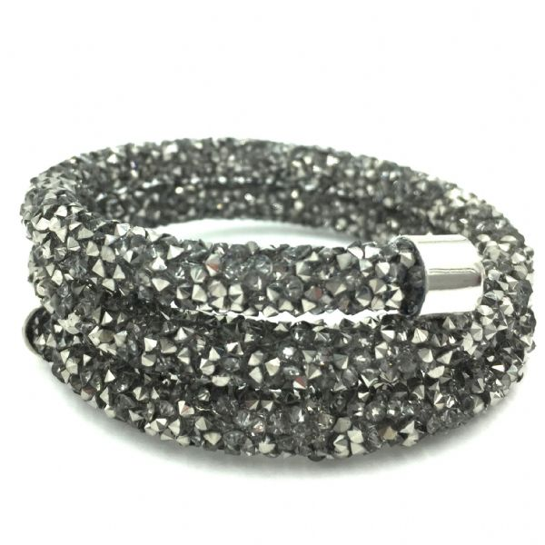 Double sparkle dust cuff bracelet - grey